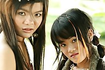 Thai teen lesbians Gibzy and Piano strip and play with dildo