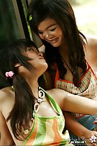 thai teen lesbians gibzy and piano in playful mood