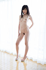 Standing Naked At Curtained Window Bare Breasts Hand On Hip Trimmed Pussy Hair High Heels