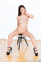Sitting Naked On Stool Big Tits Legs Spread Showing Her Trimmed Bush Wearing High Heels