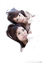 Miura Rin with girlfriend Aoi Sakura under the covers