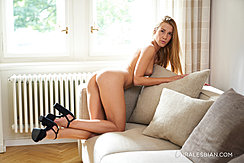 Bending Over Naked On Sofa Looking Back Nice Ass High Heels